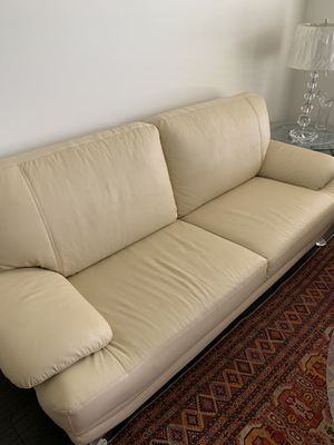 White Leather Couch for Sale in Stone Ridge, VA
