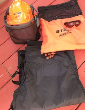 Like New Stihl Woodcutter Kit Chaps Wood Cutter Helmet Sunglasses for Sale in Blue Bell, PA