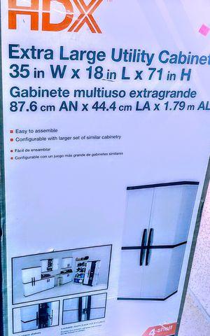 HDX 35 in. W 4 Shelf Plastic Multi-Purpose Cabinet in Gray for Sale in Tulsa, OK