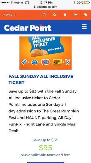2 All inclusive tickets to cedar point for Sale in Harper Woods, MI