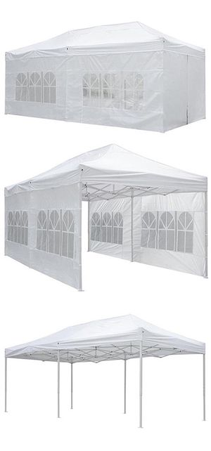 New in box $210 Heavy-Duty 10x20 Ft Outdoor Ez Pop Up Party Tent Patio Canopy w/Bag & 6 Sidewalls, White for Sale in South El Monte, CA