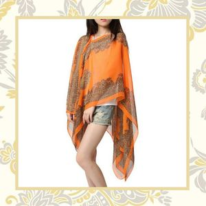 ORANGE PAISLEY SHAWL SCARF WRAP SARONG MULTIPURPOSE CHIFFON BEACH POOL COVER UP VACATION SUMMER for Sale in Las Vegas, NV