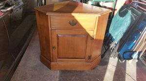Wooden Corner Table with Drawer and Cabinet for Sale in Ridgefield, NJ