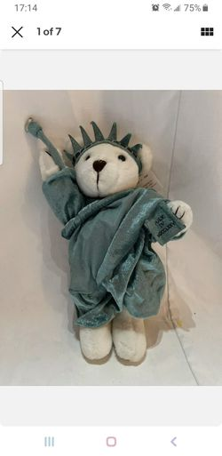 NY TEDDY BEAR J. Fan 1997, White Plush, New York, Statue of Liberty, Twin Towers for Sale in Houston, TX