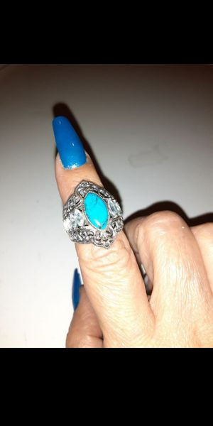 925. Silver. Turquoise and blue topaz ring . size 7 for Sale in Fullerton, CA