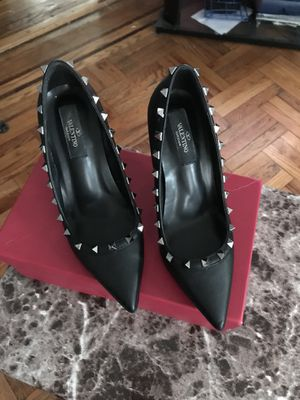 Black leather Valentino rivet shoes for Sale, used for sale  Brooklyn, NY
