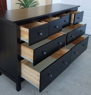 Ikea Black HEMNES 8 Drawer Dresser Chest Clothes Storage Organizer Wardrobe Stand Unit for Sale in Monterey Park, CA