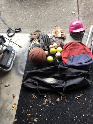 Cleaning out garage found all this baseball stuff and basketball for Sale in Troutdale, OR