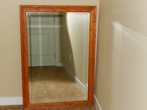 """Solid wood framed mirror 28 1/2"""" W X 40 1/2"""" T... $65 cash only you haul for Sale in Redmond, OR"""