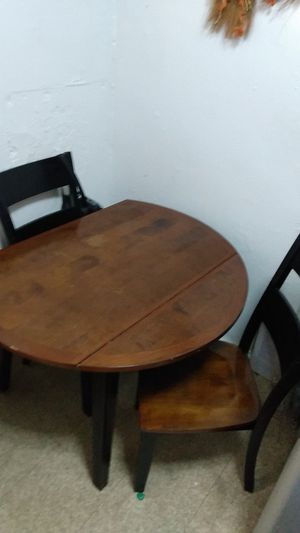 Black and cherry wood finish kitchen table set 2 chairs for Sale in New York, NY