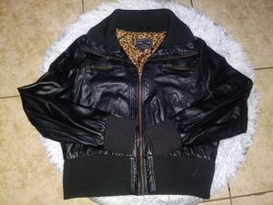 Women's Black Leather Jacket Size 2x Cheetah Print Interior for Sale in Rialto, CA