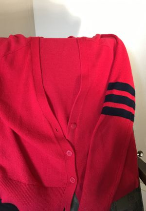 Red cardigan (size M) with varsity stripes on sleeves. Cute! for Sale in Vancouver, WA
