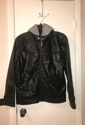 POINT ZERO Black Synthetic Leather Jacket with Removable Grey Hoodie (Size Medium Men) for Sale in Miami, FL
