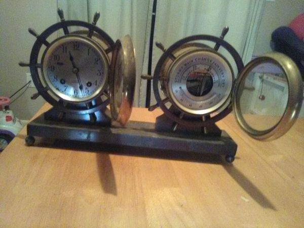 Vintage made between 1955-1957 Chelsea ships Bell clock with barometer and thermometer brass set