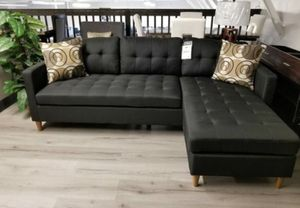 Brand new black linen sectional sofa couch for Sale in Wheaton-Glenmont, MD