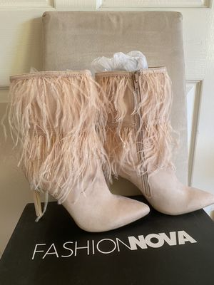 Fashion nova feather boots for Sale in Paramount, CA