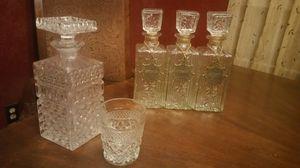 Antique Crystal Liquor Bottle Set for Sale in Spring, TX