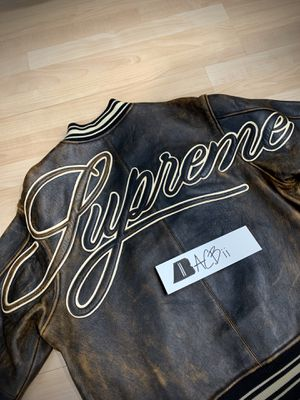Supreme Painted Worn Leather Varsity Jacket for Sale in NO POTOMAC, MD