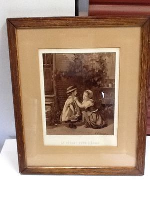 Antique print two girls in wooden frame for Sale in Dulles, VA