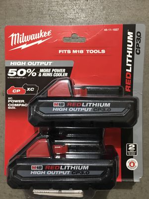 Milwaukee M18 18-Volt Lithium-Ion HIGH OUTPUT CP 3.0Ah Battery ( 2 Pack ) for Sale in Phoenix, AZ