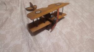 Vintage Yellow Tin Metal Biplane Airplane Model Decor Toy Collectible Gift for Sale in Fort Myers, FL