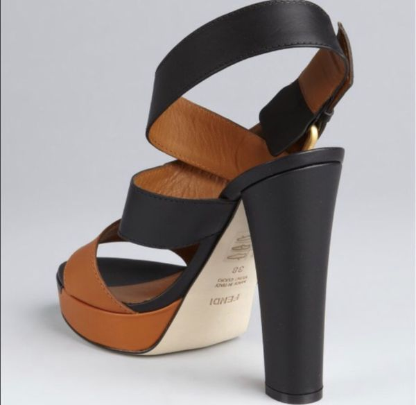Fendi Black & Honey Colorblock Sandals