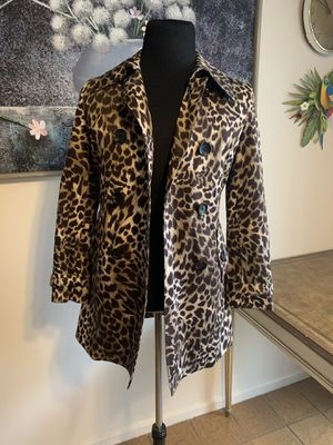 Michael Kors Double Breasted leopard jacket Trench Coat Womens Size Small SP for Sale in Skokie, IL