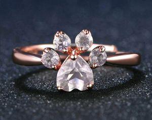 Rose Quartz 18k Rose Gold over Sterling Silver Bear Paw Ring, Adjustable for Sale in Wichita, KS