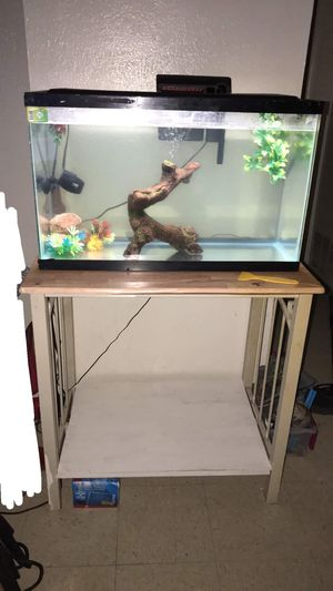 Complete 30 gallon fish tank with stand for Sale in Oklahoma City, OK