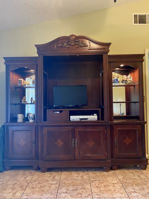 Real wood dark cherry wood Entertainment center for Sale in BVL, FL