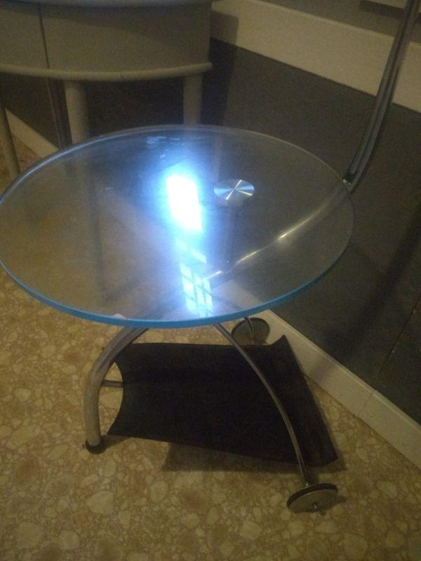 Glass top table, handmade