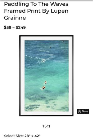 Paddling to the waves framed art print for Sale in Los Angeles, CA