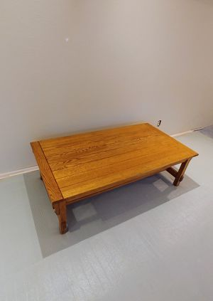 Large solid oak mission style coffee table for Sale in Mercer Island, WA