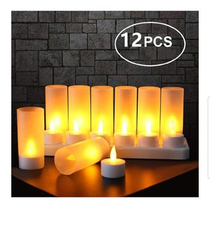EXPOWER Flameless Candles - 12 Rechargeable LED Flickering Tea Lights + 12 Frosted Cups - Comes With Charging Base, No Battery Needed for Sale in Rossville, GA