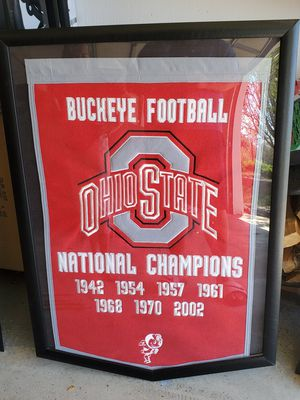 Framed Ohio State flags/pennant and Ohio State clock for Sale in Brunswick, OH