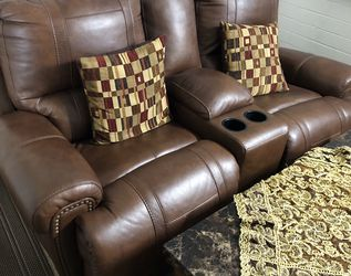3 PC Electric Leather Sofa Recliner Brown Set & Coffee Table- Great Condition for Sale in Westminster,  CA