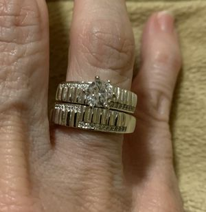 New 2 piece CZ sterling silver wedding ring size 8 for Sale in HOFFMAN EST, IL