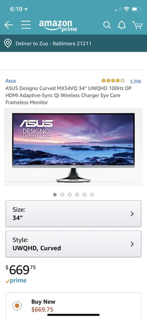 Curved monitor for Sale in Baltimore, MD