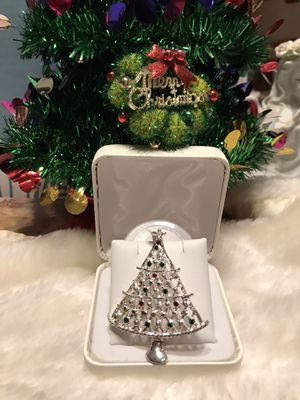 Pretty!! Silver Christmas Tree Pin with Multi color Stones for Sale in Gainesville, VA