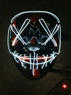 New halloween costume mask cosplay rave party LED glow scary mask costume party orange pink green or white purge movie dance club for Sale in Los Angeles, CA