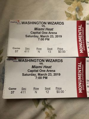 Two Wizards Tickets VS Miami Heat For Cheap for Sale in Annandale, VA