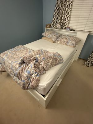 Full size bed with 4 drawers on the bottom, headboard with shelves, and mattress. for Sale in San Jose, CA