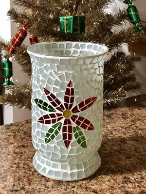 Beautiful Stained Glass Christmas Vase (2 available) for Sale in Mokena, IL