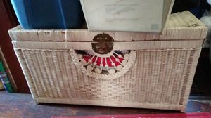$75Long and deep White wicker Chest with brass handles shells on the front for Sale in Lexington, KY