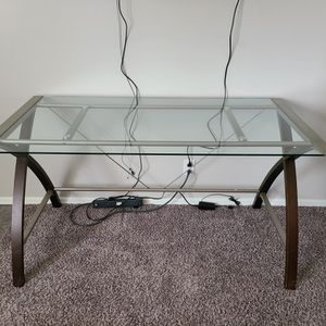 Glass And Wood Desk, Bookshelf And Filing Cabinet for Sale in Clearwater, KS