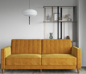 DHP Pin Tufted Transitional Futon, Mustard Yellow Velvet for Sale in Las Vegas,  NV