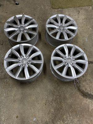 VW/Audi rims: 10 spoke Alloy rims with center knockouts (lug nut covers) for Sale in Cosmopolis, WA