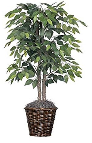 Artificial Natural Ficus Bush with Dark Green Leaves in Decorative Rattan Basket FIRM BRAND NEW 4 feet Beautiful Fake Plant for Sale in Industry, CA