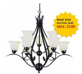 Aspen 9-Light Rubbed Oil Bronze Chandelier with Frosted Shades by Bel Air Lighting NEW for Sale in Fort Lauderdale,  FL