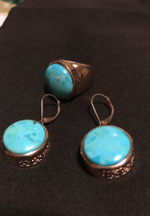 Copper and turquoise earrings and ring for Sale in Piscataway, NJ